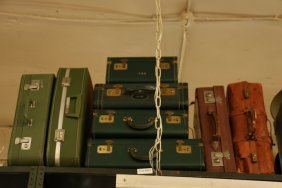 Eight Vintage Suitcases, Green And Brown In