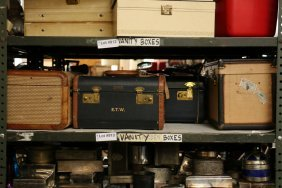 Four Vintage Leather And Woven Train Cases.