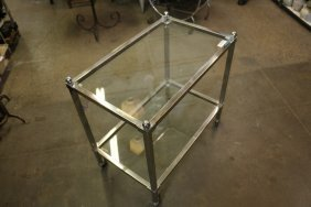 Chrome And Glass Bar Cart