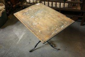 Vintage Wood Tilt Top Drafting Table