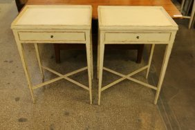Pair Of Painted Cream Color Single Drawer Side