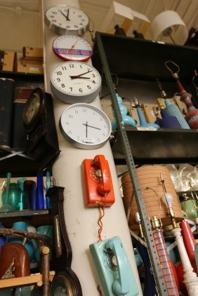 Grouping Of Clocks And Telephones.