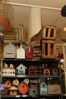 Painted Wood Bird Houses, Mail Boxes, And