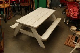 White Painted Child's Picnic Bench.
