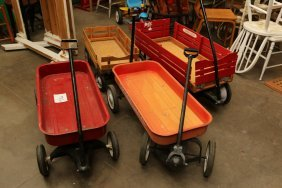 Four Children's Wagons, Two Metal, Two With Wood