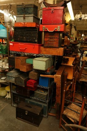 Large Grouping Of Tool Boxes, Fittings And Parts