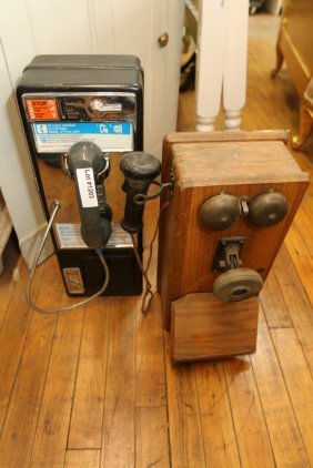 Antique Telephone And Pay Telephone.