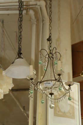Swedish Etched Crystal Chandelier Having Four