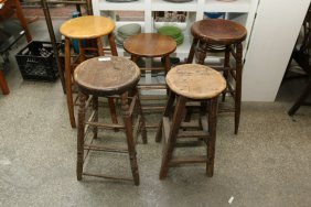 Five Assorted Vintage Tall Wooden Stools.