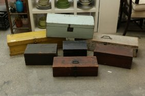 Seven Assorted Vintage Wooden Boxes, Some