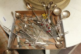 Silver Plate Flatware Incl Spoons, Knives, And