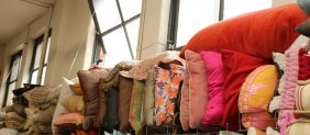 Top Shelf Of Misc Pillows Colors Incl Browns,