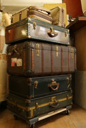 Grouping Of Hard Cases, Steamer Trunk And Two