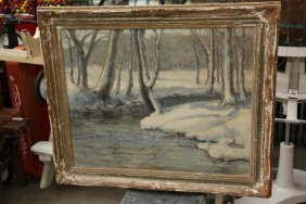 Oil On Canvas Of Creek Scene Signed Lower Right