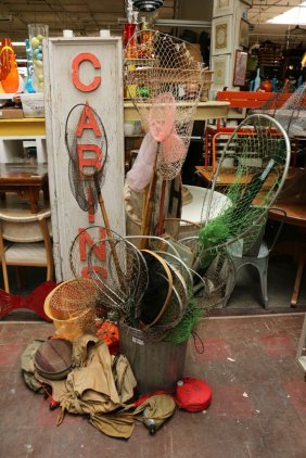 Fishing Lot Consisting Of Vintage Nets, Canteens,