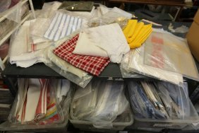 Assorted Kitchens Towels And Table Cloths Blue In