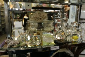 Shelf Lot Incl Crystal Objects, Lucite, And