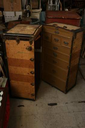 Large Fabric And Metal Steamer Trunk.