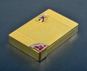 Verdura Diamond And Ruby Gold Compact
