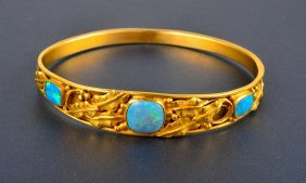 Art Nouveou Opal Gold Bangle