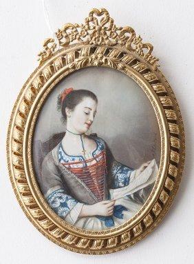 Signed Miniature On Ivory Portrait