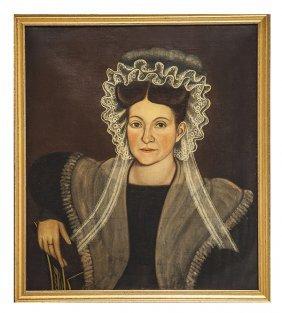 Signed Noah North American Folk Art Portrait Woman In