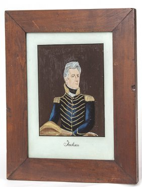 Reverse Painted Portrait Of Andrew Jackson