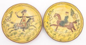 Pair Red Ware Sgraffito Decorated Chargers