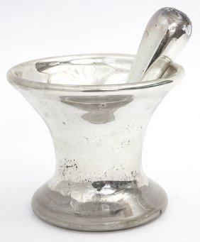 Rare Mercury Glass Mortar & Pestle