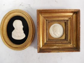 2pcs Antique Ivory Carved Portraits