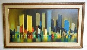 O/c Mid Century Abstract Nyc Skyline