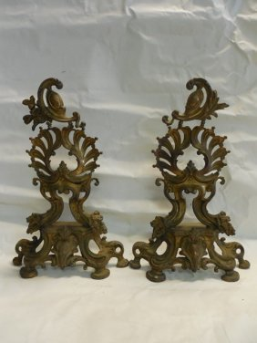 Pr Bronze Gold Dore Fireplace Andirons