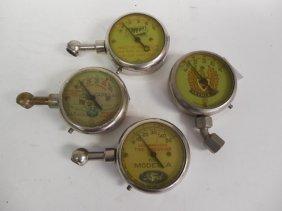 Lot 4 Vintage Automobile Tire Pressure Gauges