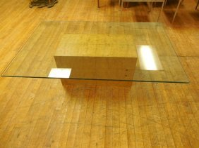 Baughman Style Olivewood Burl & Glass Coffee Table