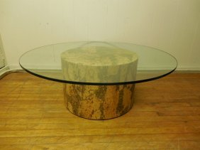 Baughman Style Olive Or Cork Burl Drum Coffee Table