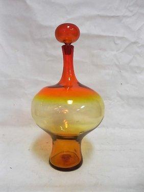 Joel Meyers For Blenko Bottle W/stopper
