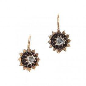 Gold Earrings With Diamonds , Wienna, End Of XIX Ce
