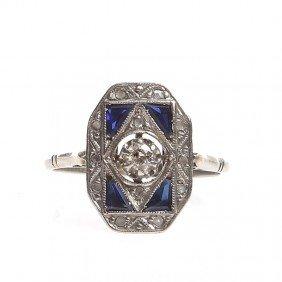 White Gold Ring With Diamonds ,  20-ties�30-ties XX