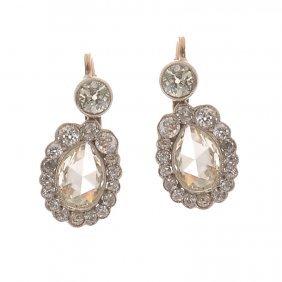 Diamond Earrings, XIX Th Century Gold  ~ 0,580, Sil