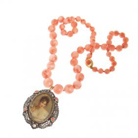Necklace, String Of Rose Coral, C. 8,5 Mm - 12 Mm,