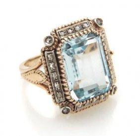 Ring With Aquamarine, 20th Century; 0.585 Gold, White