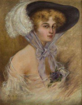Karol Haimroth, 20th Century, Lady In Hat - Portrait,