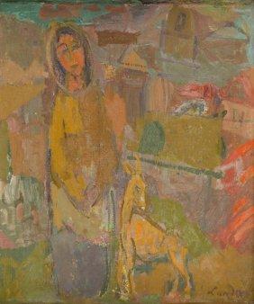 Zygmunt Landau (1898 - 1962) A Girl With A Goat; Oil On