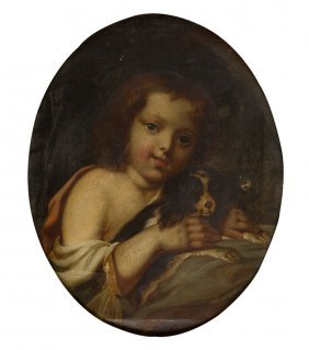 Unknown Artist, 19th Century, A Girl With A Puppy; Oil