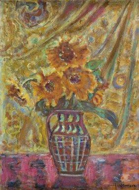 Czeslaw Rzepinski (1905 - 1995) Flowers In Vase; Oil On