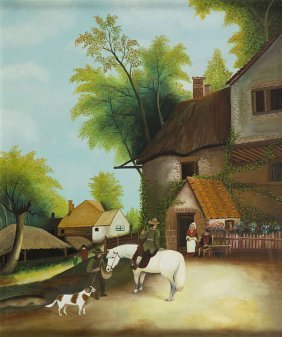 Unknown Artist, 20th Century, In Front Of A House; Oil