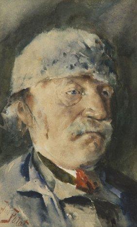 Julian Falat (1853 - 1929) Portrait Of Man, Watercolour