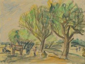 Henryk Epstein (1891 - 1944) Landscape With Cart,