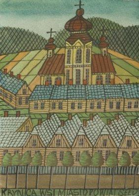 Nikifor Krynicki (1895 - 1968) Krynica, Gauche On Paper