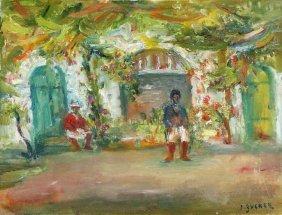 Jakub Zucker (1900 - 1981), Gazebo, Oil On Canvas, 35 X